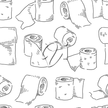 Toilet paper seamless pattern. Hygiene theme vector background
