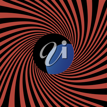 The black and red stripes twisting into the tunnel form and hole through which a blue background with light. Vector The End background