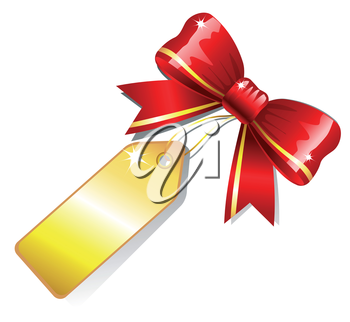Red shiny bow with golden label card