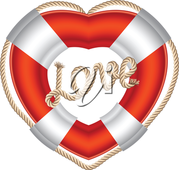 Life belt heart with rope love inscription