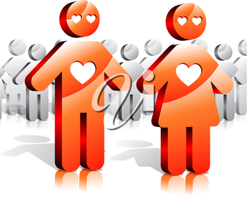 Loving couple and society. Illustration with shiny people icons
