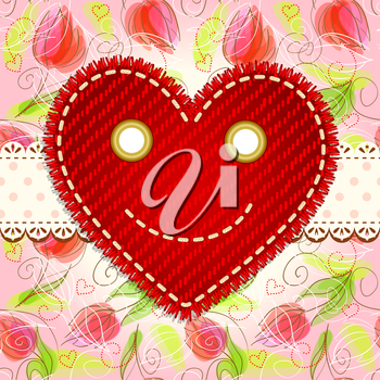 Valentine`s day vintage card with smiling heart and lace