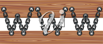 Chained www symbol on a wooden planks