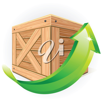 Wooden box with green arrow