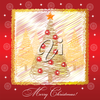 Christmas card illustration with golden christmas tree