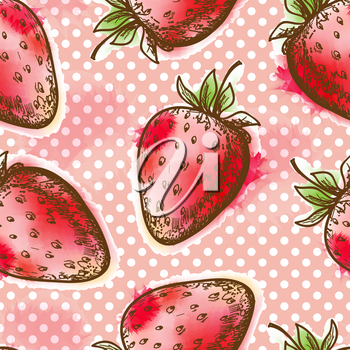 Seamless pattern with strawberry. Painted in watercolor style