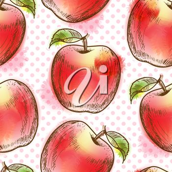 Seamless pattern with apple. Painted in watercolor style