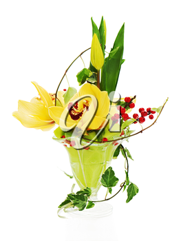 bouquet from orchids, tulips and ivy arrangement centerpiece in glass vase isolated on white background