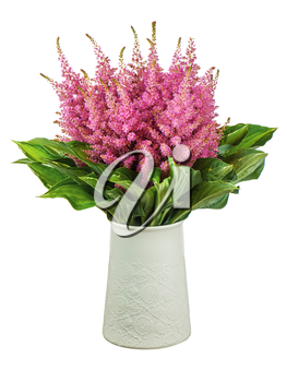 Colorful bouquet from astilbe and funkia flowers in vase isolated on white background. Closeup.