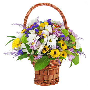 Bouquet from gerbera flowers in wicker gift basket isolated on white background.