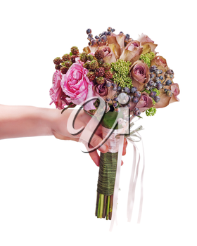 Bouquet for bride in hand isolated on white background. Closeup.