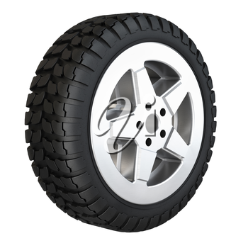 New rubber tire for car isolated on white background. 3D rendering.