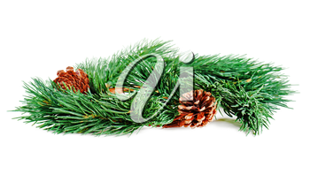 Wreath of fir branches isolated on white background, selective focus