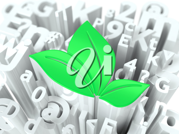 Green Leaves Simbol on White Alphabet Wordcloud. Ecological Concept. Background for Your Publication or Blog.