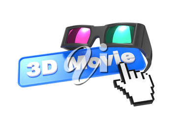 Web Button 3D Movie with Cursor and Anaglyph Glasses. 3D movie Concept.