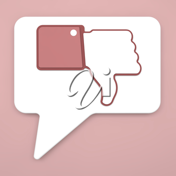 Thumb Down Sign on Speech Bubble for Blogs and Websites.