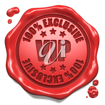 VIP Exclusive - Stamp on Red Wax Seal Isolated on White. Business Concept. 3D Render.