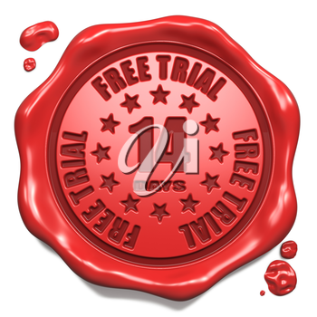 Free Trial 14 Days - Stamp on Red Wax Seal Isolated on White. Business Concept. 3D Render.