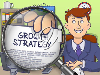 Growth Strategy through Lens. Business Man Holding a Paper with Concept. Closeup View. Multicolor Doodle Style Illustration.