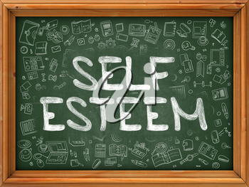 Self Esteem - Hand Drawn on Green Chalkboard with Doodle Icons Around. Modern Illustration with Doodle Design Style.