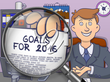 Officeman in Suit Looking at Camera and Holding a Paper with Business Concept - Goals for 2016 - through Lens. Closeup View. Colored Doodle Style Illustration.