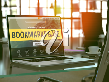 Modern Workplace with Laptop showing Landing Page with Bookmarks Base Concept. Toned Image with Selective Focus. 3D Render.