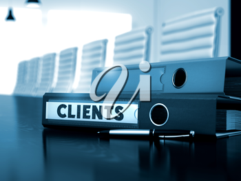 Clients - Office Folder on Table. File Folder with Inscription Clients on Wooden Working Table. Clients - Illustration. 3D. Toned Image.