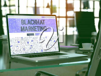 Blackhat Marketing Concept - Closeup on Landing Page of Laptop Screen in Modern Office Workplace. Toned Image with Selective Focus. 3D Render.
