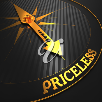 Priceless - Business Background. Golden Compass Needle on a Black Field Pointing to the Word Priceless. 3D Render.