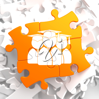 Icon of Human Silhouettes in Grad Hat on Orange Puzzle. Education Concept.