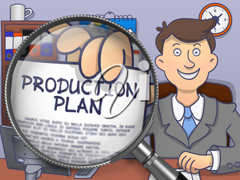 Production Plan. Officeman Showing Paper with Text through Magnifier. Colored Doodle Illustration.