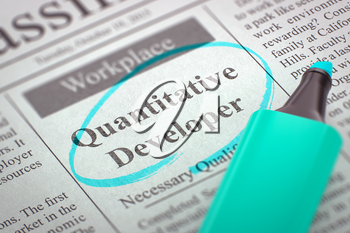Quantitative Developer - Classified Advertisement of Hiring in Newspaper, Circled with a Azure Highlighter. Blurred Image. Selective focus. Concept of Recruitment. 3D.