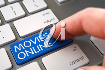 Movies Online - Aluminum Keyboard Keypad. Selective Focus on the Movies Online Button. Hand Touching Movies Online Keypad. Finger Pushing Movies Online Keypad on Modern Laptop Keyboard. 3D.