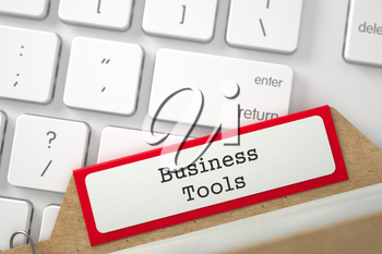 Business Tools. Red Folder Register Concept on Background of White PC Keyboard. Business Concept. Close Up View. Selective Focus. 3D Rendering.