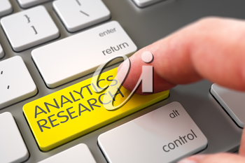 Analytics Research Concept - Aluminum Keyboard with Yellow Keypad. 3D Illustration.