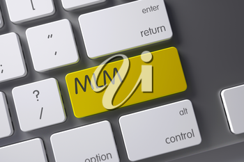 MLM Concept Slim Aluminum Keyboard with MLM on Yellow Enter Button Background, Selected Focus. 3D Illustration.
