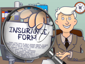 Insurance Form on Paper in Mans Hand through Magnifier to Illustrate a Business Concept. Colored Doodle Style Illustration.