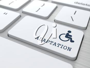 Adaptation Word with  Disabled Icon on Button of White Modern Computer Keyboard.
