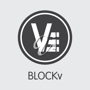 Blockv - Cryptographic Currency Illustration. Vector Coin Symbol of Virtual Currency Icon on Grey Background. Vector Web Icon: VEE.