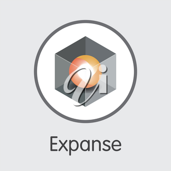Expanse - Vector Icon of Virtual Currency. Criptocurrency Blockchain Icon on Grey Background. Digital Currency Concept. Vector Trading sign EXP.