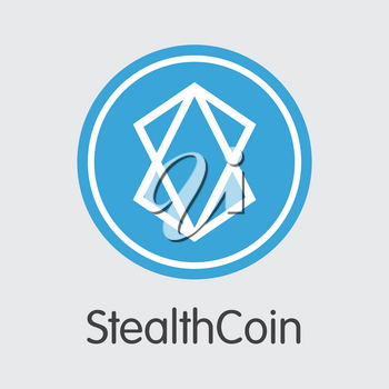 Stealthcoin Blockchain Based Secure Cryptocurrency. Isolated on Grey XST Vector Trading Sign.