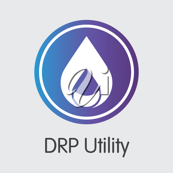 Drp Utility Finance. Cryptographic Currency - Vector Pictogram. Modern Computer Network Technology Sign Icon. Digital Element of DRPU. Concept Design Element.