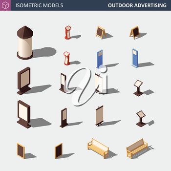 Outdoor Advertising Media Set. This Includes Advertising Column, Citylight Lightbox, Flipchart, Banners, Signage and Street Furniture. Vector Isometric Illustration.
