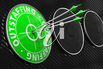 Outstaffing Concept. Three Arrows Hitting the Center of Green Target on Black Background.