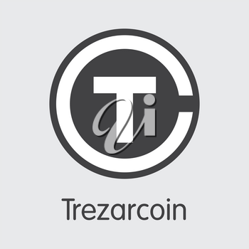 Trezarcoin Finance. Cryptocurrency - Vector Illustration. Modern Computer Network Technology Pictogram Symbol. Digital Colored Logo of TZC. Concept Design Element.