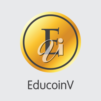 Educoinv - Blockchain Cryptocurrency Concept. Colored Vector Icon Logo and Name of Crypto Currency on Grey Background. Vector Symbol for Exchange EDC.