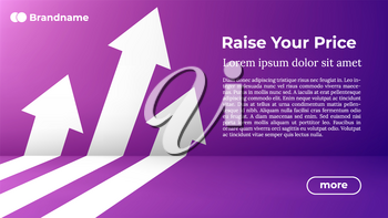 Rise Your Price - Web Template in Trendy Colors. Business Arrow Target Direction to Growth and Success. Modern Vector Illustration or Design Template.