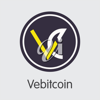 Exchange - Vebitcoin. The Crypto Coins or Cryptocurrency Logo. Market Emblem, Coins ICOs and Tokens Icon.