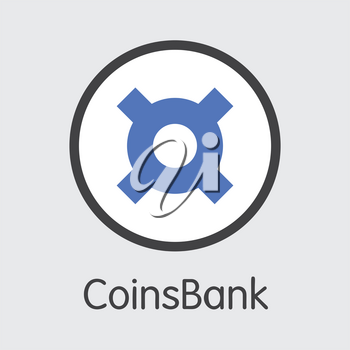 Exchange - Coinsbank. The Crypto Coins or Cryptocurrency Logo. Market Emblem, Coins ICOs and Tokens Icon.