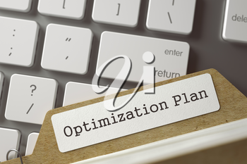 Optimization Plan. Card File on Background of Modern Metallic Keyboard. Archive Concept. Closeup View. Selective Focus. Toned Illustration. 3D Rendering.